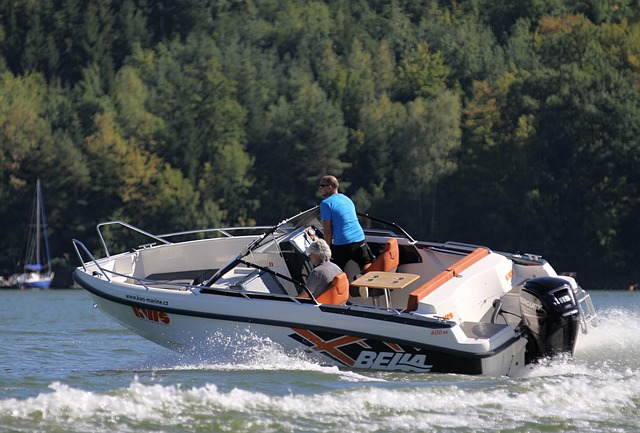 Two people in a speedboat on the lake