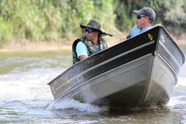 Two men in a motorboat